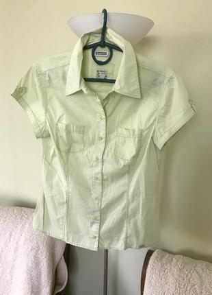 Салатовая хлопковая рубашка стрейч