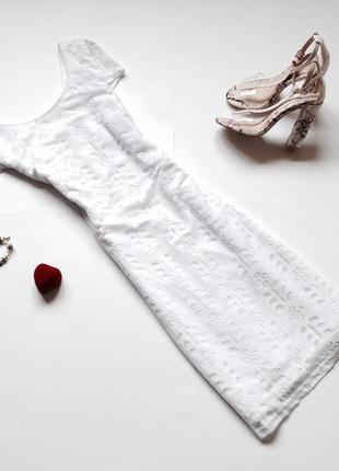 Белое платье миди2 фото