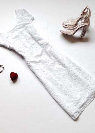 Белое платье миди1 фото