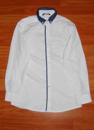 Белая рубашка с длинным рукавом,8-9 лет,128,134