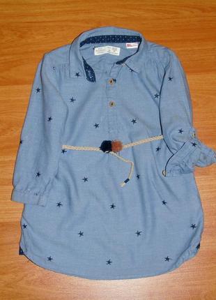 Туника,платье,рубашка в звезды zara,зара,18-24 мес.,92,1,5-2 года