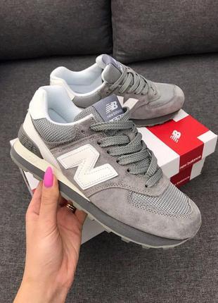 5cbddb543 Удобные женские кроссовки new balance 574 grey из замши (весна-лето-осень)