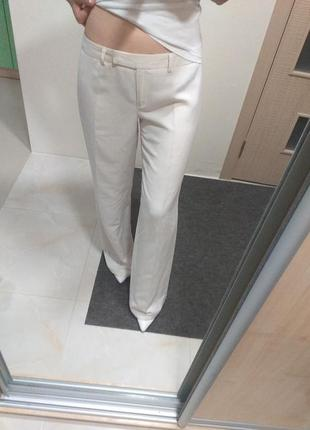 Брендовые льняные лен прямые брюки кремовые италия