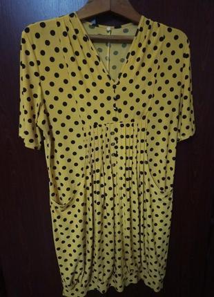 Платье большого размера желтого цвета в горох, вещи большого размера в асортименте