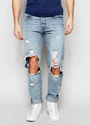 Рваные джинсы diesel buster distressed light wash