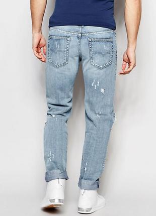 Рваные джинсы diesel buster distressed light wash3 фото