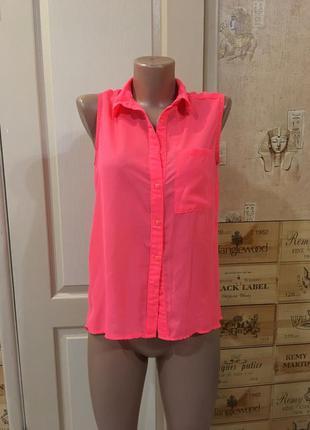 Блуза свободная цвет розовый кислотный