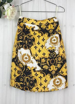 Шелковая винтажная стеганая юбка с принтом барокко винтаж apart
