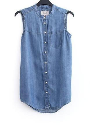 Denim co/джинсовая летняя рубашка/женская безрукавка из денима/легкая
