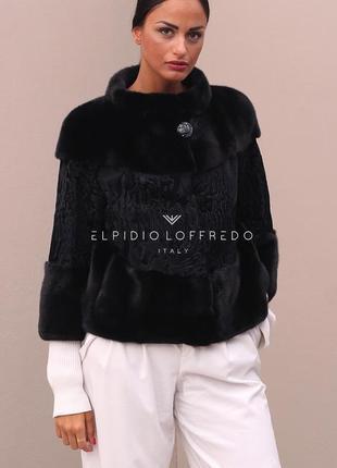 Изумительная шикарная вещь! норковая куртка жакет с персидской каракульча! италия