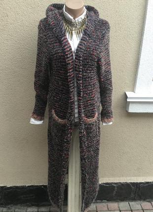 Длинный кардиган,вязанное,букле пальто с капюшоном,золото нить,кофта травка,шерсть