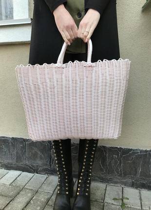 Большая,плетённая,розово-пудровая сумка-корзина,шоппер,летняя,пляжная,этно