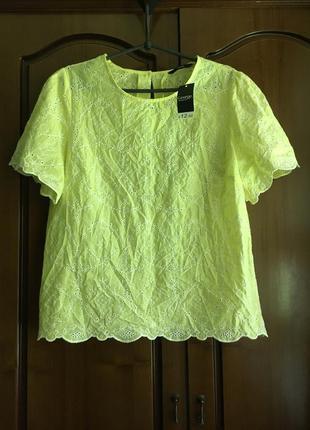 Хлопковая жёлтая блуза  футболка с коротким рукавом