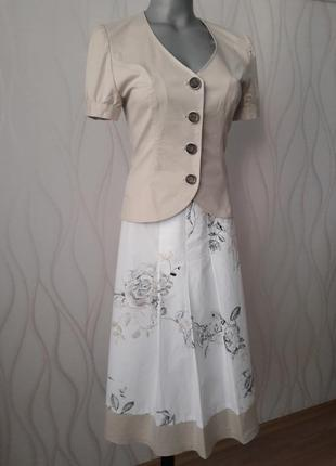 Супер красивый, нежный, стильный, неповторимый, летний костюм бело- бежевого цвета
