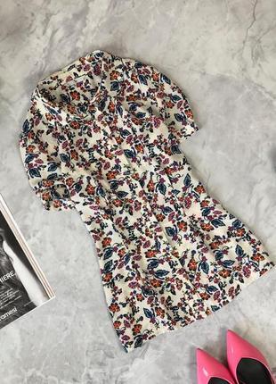 Летняя приталенная блуза в цветочный принт  bl1920135 tu