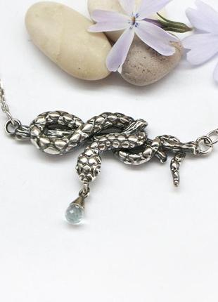 """Серебрянный кулон с цепочкой """"змея"""" с топазом-бриолет авторская ручная работа"""