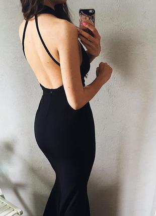 🖤элегантное вечернее макси платье с открытой спиной силуэт рыбка4 фото