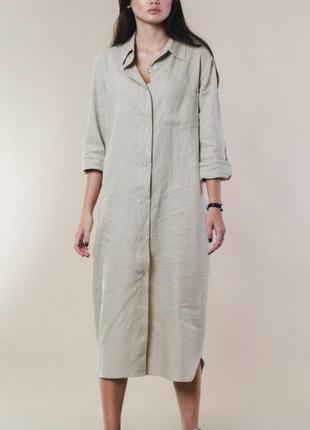 Обалденное льняное платье рубашка, размер 42-46 универсал