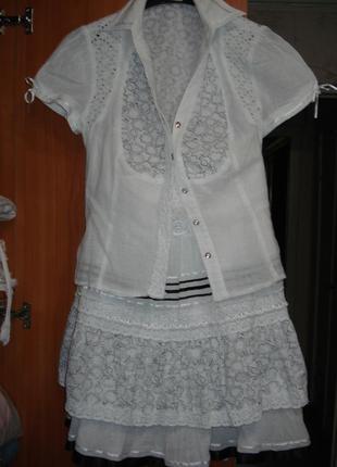 Шикарный дорогой брендовый костюм юбка и блуза, блузка lesya р.8-10