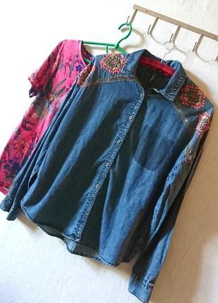💖 подписчикам - скидка 15% 💖крутая джинсовая рубашка с трендовой вышивкой 🔸бренд fb sister