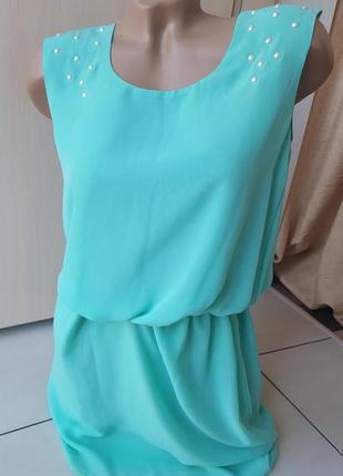 Ментоловый сарафан-платье