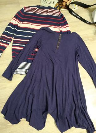 Базовое трикотажное темно-синее платье бохо стиль миди