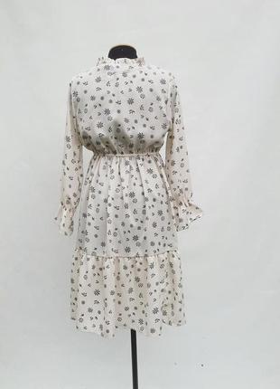 Летнее платье midi с оборкой на резинке молочный цвет с высокой талией2 фото