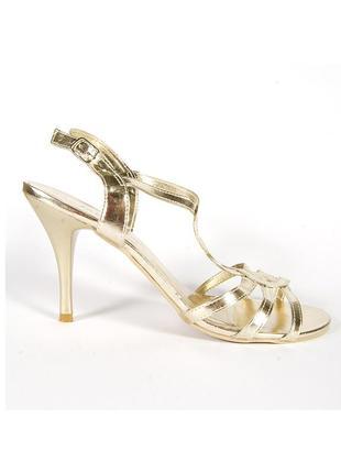 Золотистые босоножки на каблуке, открытые босоножки золото, нарядные босоножки