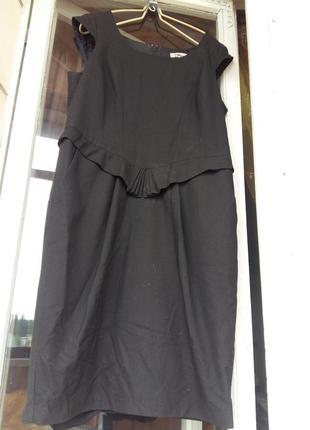 Стильное фактурное платье-сарафан с воланом по талии офис учеба48-50р.