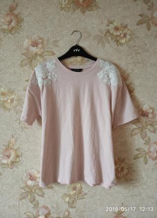 🔥 распродажа 🔥летняя футболка пудрового цвета с вышивкой 045к