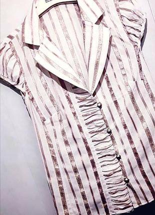 Нарядная белая рубашка/рубашечка/блуза в люрексовую полоску с коротким рукавом prego.