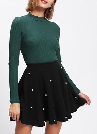 Красивая стильная юбка с жемчужинами! размер xs-s!