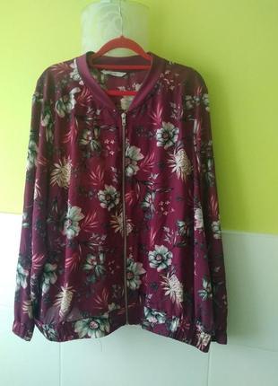 Летняя куртка бомбер цветочный принт от george3 фото