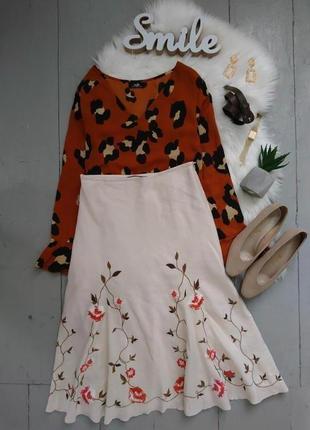 Актуальная льняная миди юбка с вышивкой №147