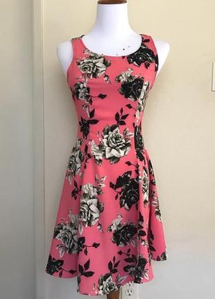 H&m цветочное мини платье, р.xs-s