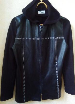 Куртка кардиган с кожаными вставками ветровка