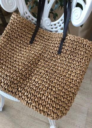 Большая соломенная сумка на молнии на пляж, за покупками