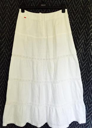 4d834d731d9 Шикарная белая длинная юбка из 100% льна и кружевами