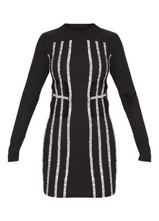 Роскошное блестящее премиум  платье с вырезами талии серебристое prettylittlething xs 64 фото