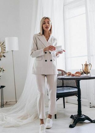 Костюм льяной молочный белый в полоску пиджак и брюки