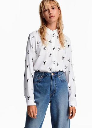 H&m рубашка принт птицы