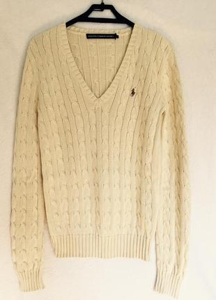 Ralph lauren коттоновый кремовый джемпер свитер пуловер-косы