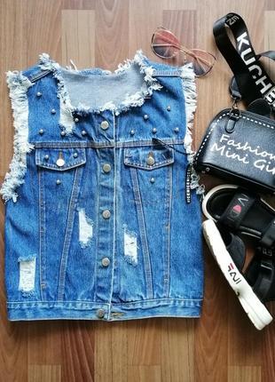 🌿 крутой джинсовый жилет с бахромой и прорезами, размер с/м1 фото