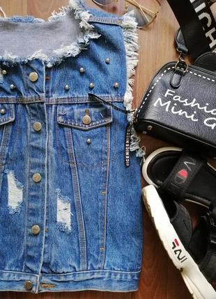 🌿 крутой джинсовый жилет с бахромой и прорезами, размер с/м2 фото