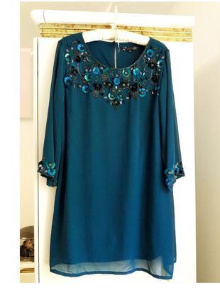 50 р шифоновая туника -платье расшитая пайетками бисером joanna hope