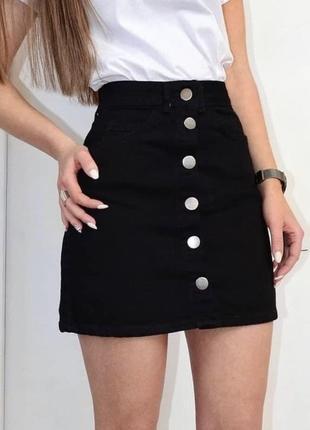 Чёрная юбка трапеция джинсовая а-силуэта