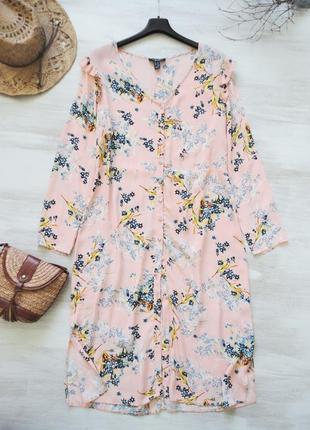 Платье рубашка new look, длинное, можно как накидка, нежный цветочный принт, вискоза