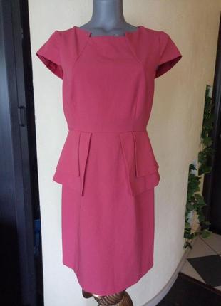 Финальная распродажа!платье-футляр,с баской,миди,кораловый трендовый цвет
