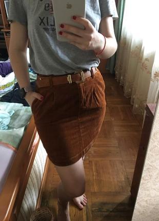 Мега стильна мини юбка вельветовая