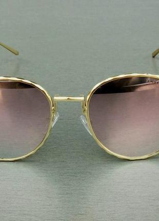 Gentle monster очки женские  розовые зеркальные в золотистой металлической оправе